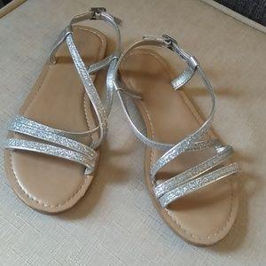 GAP Silver Sparkle Strappy Sandals Girls Size 2